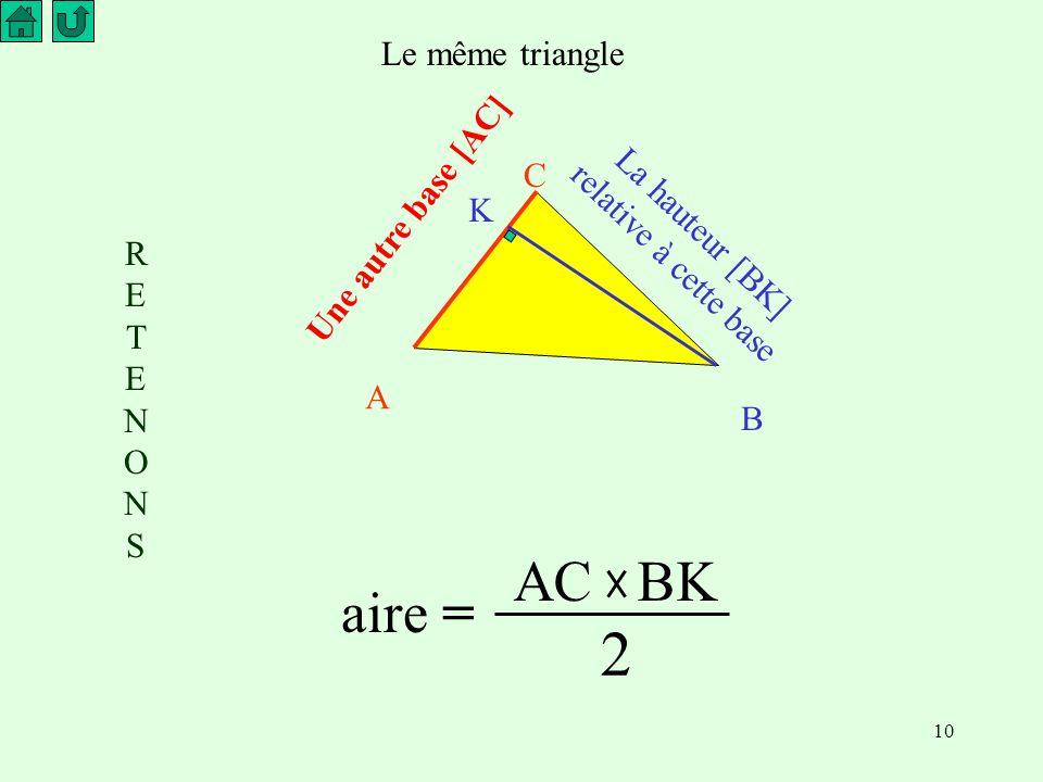 La hauteur [BK] relative à cette base